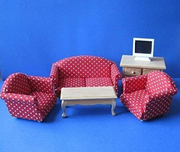 6 Piece Modern Red Living Room Set. Dolls House Emporium 5383.